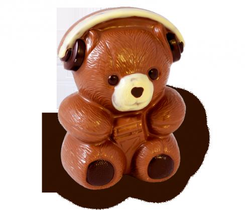 Schokoladenfigur Rockbär mit Kopfhörer