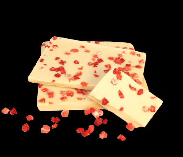 Erdbeere in weißer Schokolade