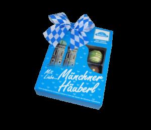 Geschenkverpackung Münchner Pralinen mit Frauenkrische